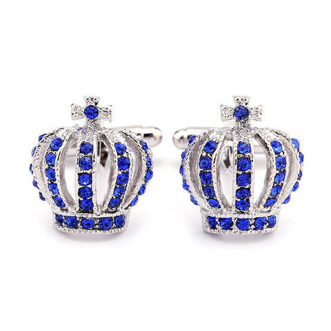Spinki do mankietów korona niebiesko - 3