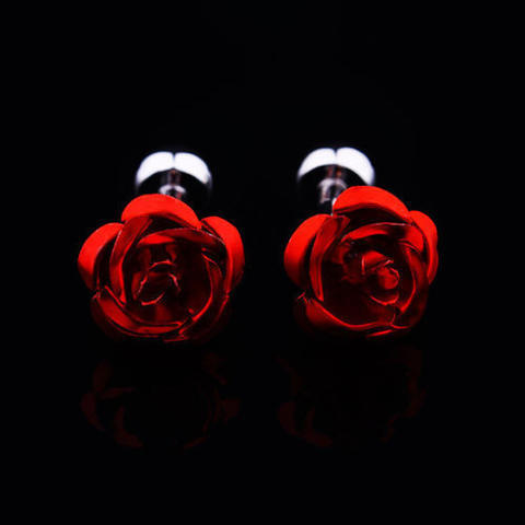 Spinki do mankietów czerwone róże - 3