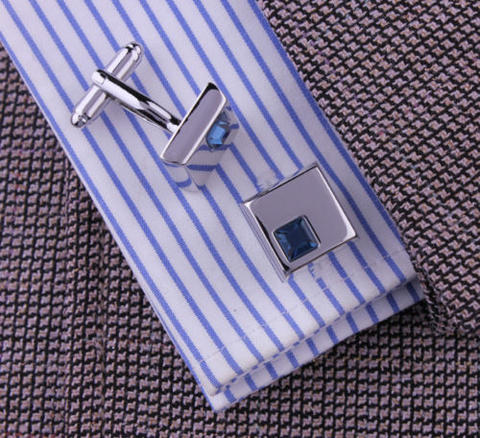 Spinki do mankietów - ciemny niebieski kryształ - 3