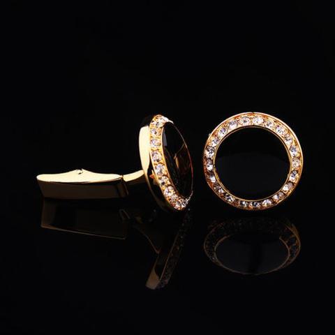 Spinki do mankietów okrągłe z czarnymi kryształkami - 3