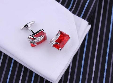 Spinki do mankietów rubinowy kolor - 3