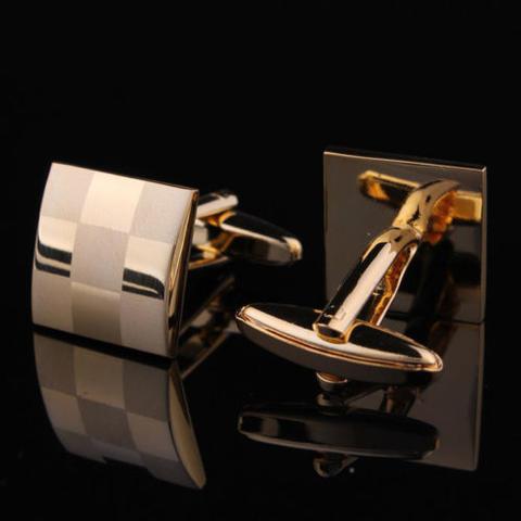 Spinki do mankietów złota szachownica - 3