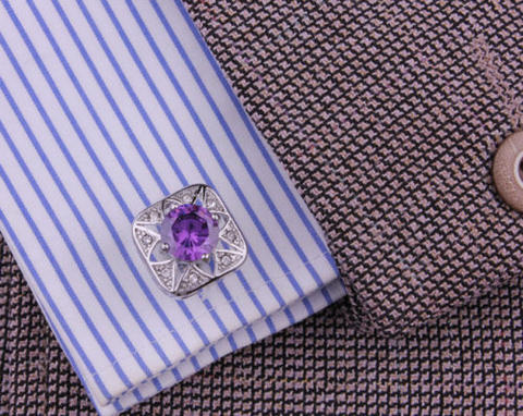 Spinki do mankietów fioletowy kamień - 3