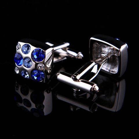 Spinki do mankietów z niebieskimi kamieniami - 3