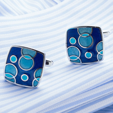 Spinki do mankietów niebieskie pierścienie - 3