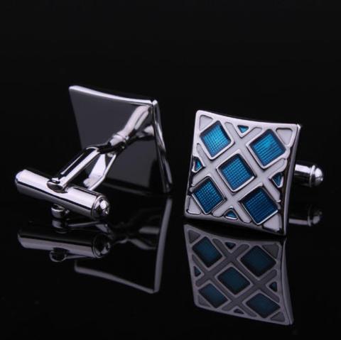 Spinki do mankietów niebieski i srebrny - 3