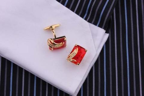 Spinki do mankietów Ruby złota - 3