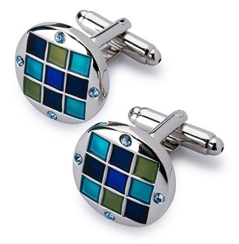 Spinki do mankietów z klipsem do krawatów niebiesko-mozaikowych - 3