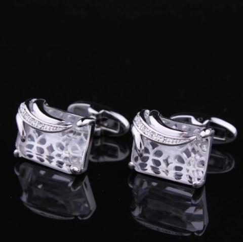 Spinki do mankietów przezroczyste kryształ - 3