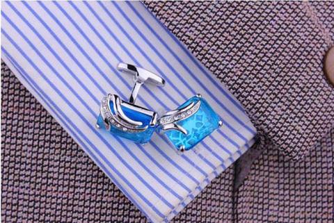 Spinki do mankietów niebieski kryształ - 3