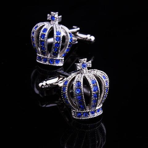 Spinki do mankietów korona niebiesko - 4