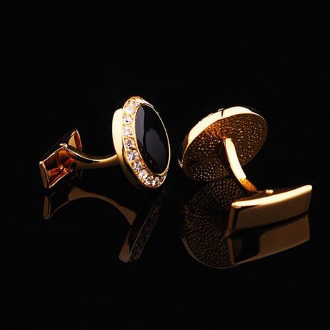 Spinki do mankietów okrągłe z czarnymi kryształkami - 4