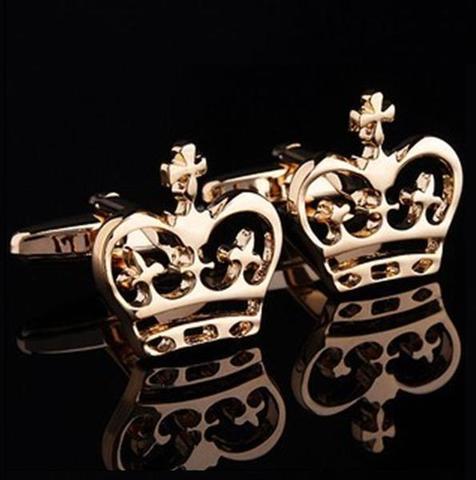 Spinki do mankietów z motywem korony królewskiej złoty - 4