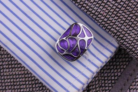 Spinki do mankietów fioletowy mozaiki - 4