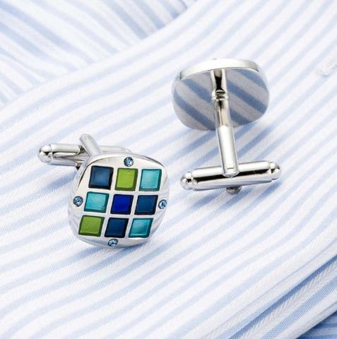 Spinki do mankietów z klipsem do krawatów niebiesko-mozaikowych - 4