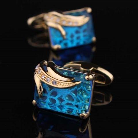 Spinki do mankietów niebieski kryształ - 4