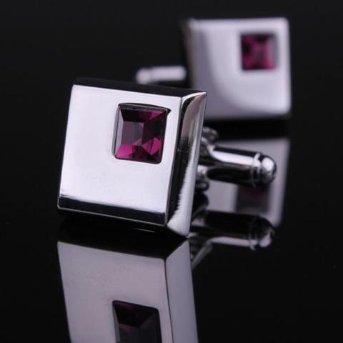 Spinki do mankietów - ciemny fiolet kryształ - 5