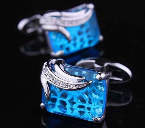 Spinki do mankietów niebieski kryształ - 5