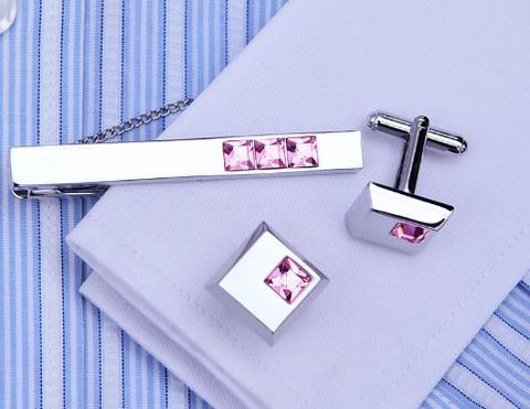 Spinki do mankietów ze stali i krawat klamrą Arkansas - 5
