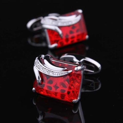 Spinki do mankietów rubinowy kolor - 6